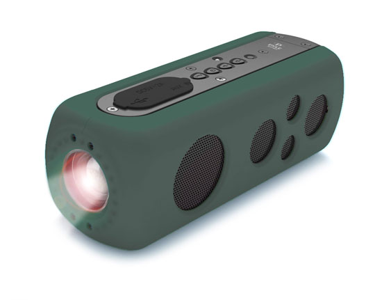 Pyle - PWPBT75GN , Marine and Waterproof , Portable Speakers - Boom Boxes , Gadgets and Handheld , Portable Speakers - Boom Boxes , SoundBox Splash 2 Bluetooth Rugged and Splash-Proof Speaker System with Built-in LED Flashlight, Hand Crank Turbine Charger and AUX Input (Green Color)