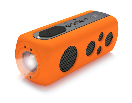 Pyle - PWPBT75OR , Sports and Outdoors , Portable Speakers - Boom Boxes , Gadgets and Handheld , Portable Speakers - Boom Boxes , SoundBox Splash 2 Bluetooth Rugged and Splash-Proof Speaker System with Built-in LED Flashlight, Hand Crank Turbine Charger and AUX Input (Orange Color)