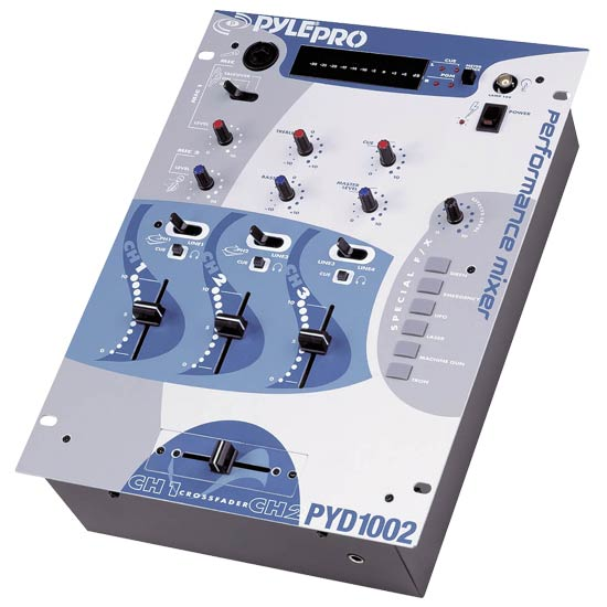 Pyle - PYD1002 , Sound and Recording , Mixers - DJ Controllers , 10'' Three Channel DJ Trick Mixer with Sound Effects