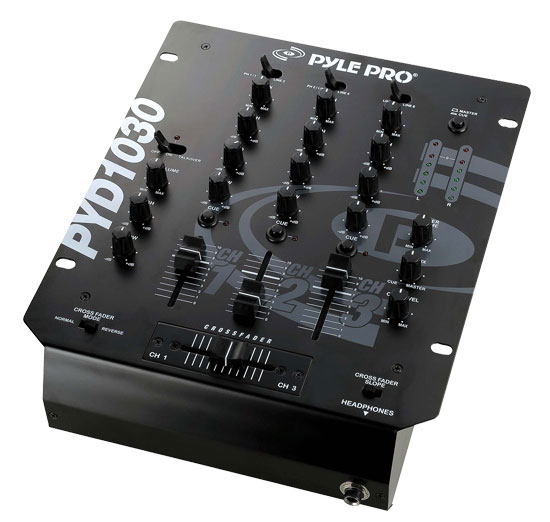 Pyle - PYD1030 , Sound and Recording , Mixers - DJ Controllers , 10'' 3-Channel Professional Mixer