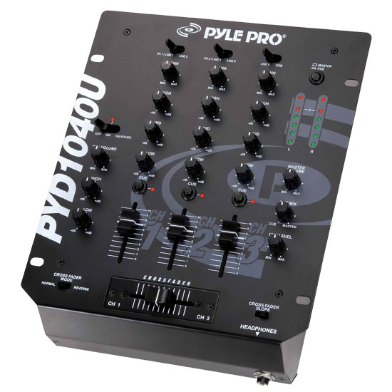 Pyle - PYD1040U , DJ Equipment , DJ Mixers , 10'' 3-Channel Professional Mixer with USB