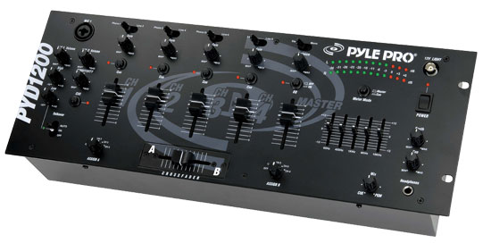 Pyle - PYD1200 , Sound and Recording , Mixers - DJ Controllers , 19'' Rack Mount 4-Channel Professional Mixer
