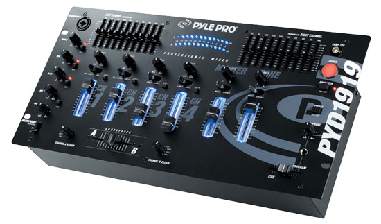 Pyle - PYD1919 , Sound and Recording , Mixers - DJ Controllers , 4 Channel Professional Mixer