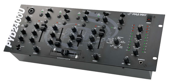 Pyle - PYD2400U , DJ Equipment , DJ Mixers , 19'' Rack Mount 4-Channel Professional Mixer with EFX