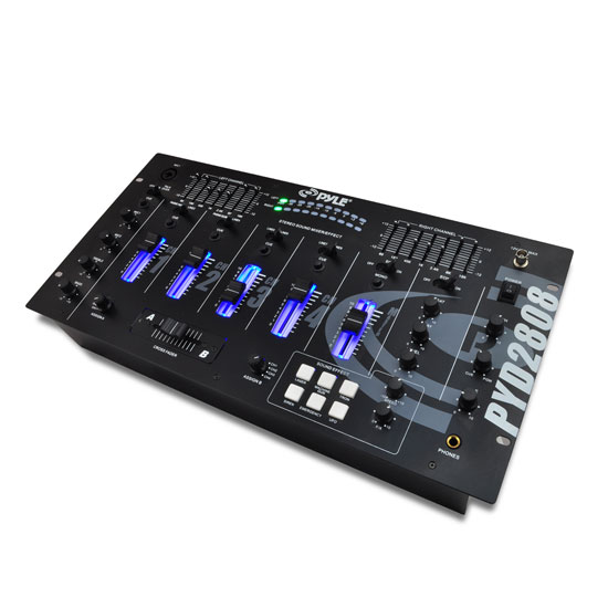 Pyle - PYD2808 , Sound and Recording , Mixers - DJ Controllers , 19'' Rack Mount 4 Channel Professional Mixer with Digital Echo and SFX