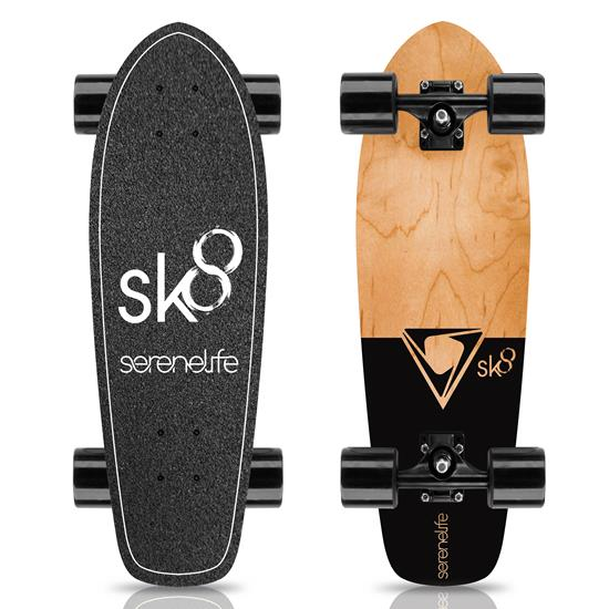 Pyle - SL5SBBK , Misc , 6'' Canadian and Bamboo Maple Deck Skateboard - Mini Cruiser Skateboard, Designed for Kids, Teens, and Adults (Black)