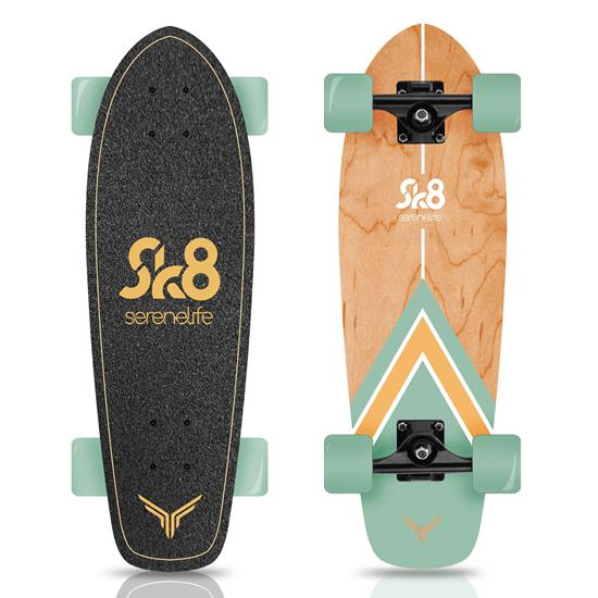 Pyle - SL5SBGR , Misc , 6'' Canadian and Bamboo Maple Deck Skateboard - Mini Cruiser Skateboard, Designed for Kids, Teens, and Adults (Green)