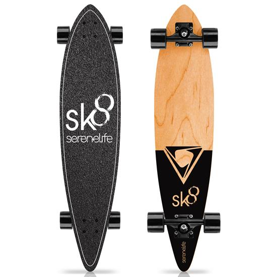 Pyle - SL7SBBK , Misc , 8'' Canadian Maple Deck Skateboard - Mini Cruiser Skateboard, Designed for Kids, Teens, and Adults (Black)