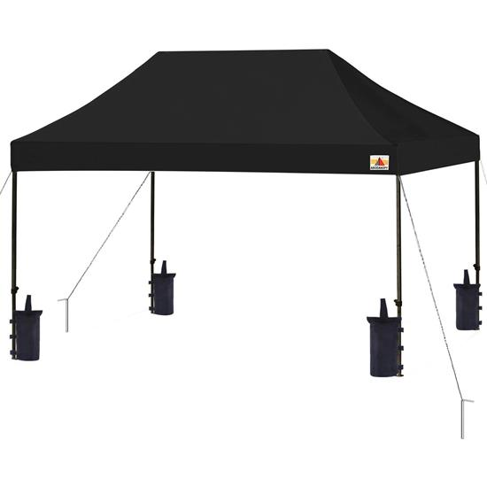 Pyle - SLGZ15BL , Misc , Pop Up Tent Commercial Instant Shelter - Waterproof Polyester Tent with Portable Wheeled Carry Bag and Sand Bag, 10 x 15 ft. (Black)