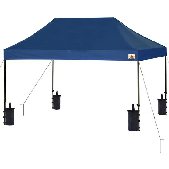 Pyle - SLGZ15BU , Misc , Pop Up Tent Commercial Instant Shelter - Waterproof Polyester Tent with Portable Wheeled Carry Bag and Sand Bag, 10 x 15 ft. (Navy Blue)