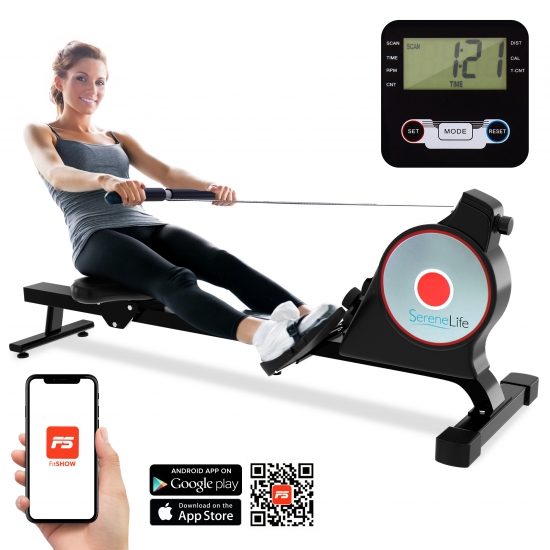 Pyle - SLRWMC10 , Health and Fitness , Fitness Equipment - Home Gym , Smart Rowing Machine - Sports Training Row Machine with Smartphone Fitness Monitoring App, Portable Folding Style