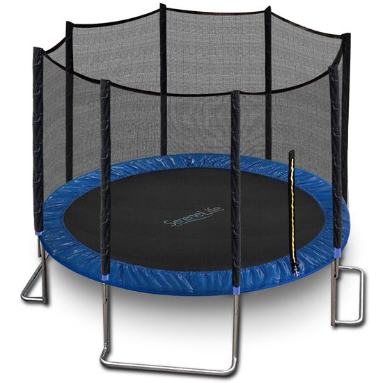 Pyle - SLTRA12BL , Home and Office , Fitness Equipment - Home Gym , Health and Fitness , Fitness Equipment - Home Gym , Home Backyard Sports Trampoline - Large Outdoor Jumping Fun Trampoline for Kids / Children, Safety Net Cage (12ft.)
