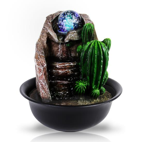 Pyle - SLTWF65LED.5 , Home and Office , Water Fountains , Water Fountain - Relaxing Tabletop Water Feature Decoration